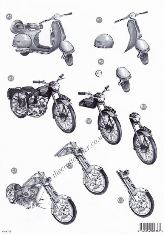 Motorbikes In Monochrome with Foil Accents Die Cut 3d Decoupage Sheet From Craft UK Ltd